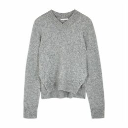 Helmut Lang Grey Brushed Wool-blend Jumper