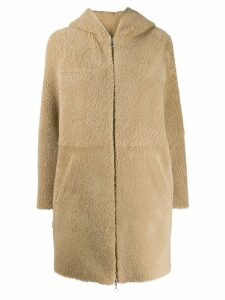 Sprung Frères Powell hooded shearling coat - Neutrals