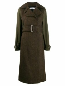 Victoria Beckham contrast sleeves long coat - Brown