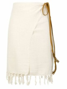 Caravana Pareo wrap skirt with fringe - White
