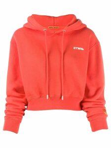 Heron Preston cropped logo hoodie - Red