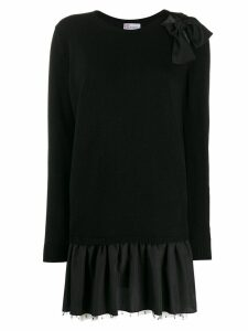 Red Valentino knitted peplum hem dress - Black