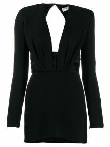 Saint Laurent structured shoulder mini dress - Black