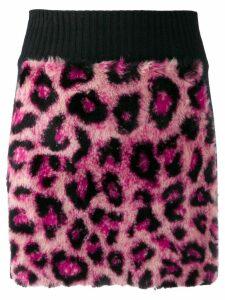 Alberta Ferretti leopard print knitted skirt - Pink