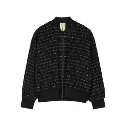 Bodice Black Embroidered Wool Bomber Jacket