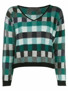 The Elder Statesman cropped check knit sweater - Green