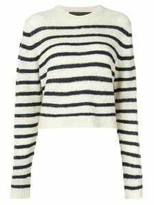 The Elder Statesman striped knitted top - White