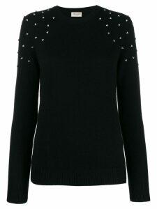 Saint Laurent cashmere crystal-embellished sweater - Black