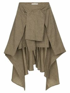 Chloé asymmetric tie-waist check skirt - Brown