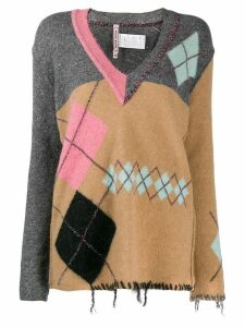 Antonio Marras distressed argyle sweater - Neutrals