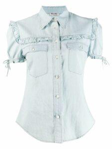 Miu Miu ruffle trim denim shirt - Blue