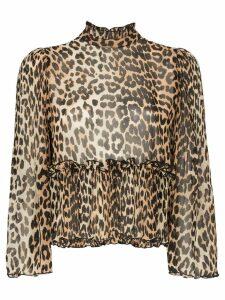 Ganni high neck leopard print blouse - Brown
