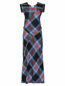 Charles Jeffrey Loverboy tartan chain-detail maxi dress - Blue