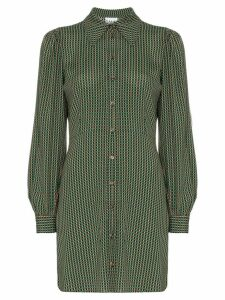 Ganni check print shirt dress - Green