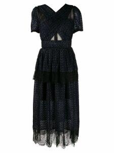 Self-Portrait lace panel midi dress - Blue