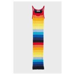 Chinti & Parker Rainbow Ombre Sunset Pointelle Maxi Dress