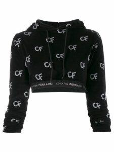 Chiara Ferragni cropped logo hoodie - Black