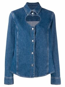 MSGM heart shape cut out denim shirt - Blue