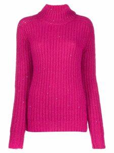 Saint Laurent sequinned turtleneck jumper - Pink
