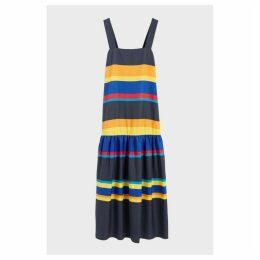 Chinti & Parker Navy Sunset Stripe Cotton-silk Sundress