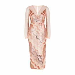 THREE FLOOR Wrap It Pink Sequin Midi Dress