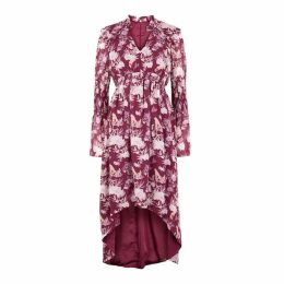 THREE FLOOR Felicity Plum Floral-print Chiffon Dress