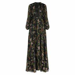 Giambattista Valli Black Floral-print Silk-chiffon Maxi Dress