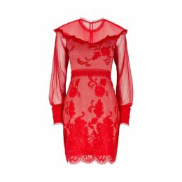 THREE FLOOR Cologne Red Lace Insert Mini Dress