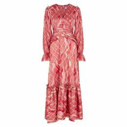 THREE FLOOR Fantasist Pink Printed Satin Dress