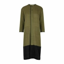 Bodice Green Contrast-panel Cotton Dress