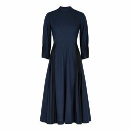 Bodice Navy Pleated Cotton Dress