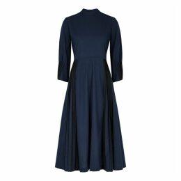 Bodice Navy Pleated Cotton Dress