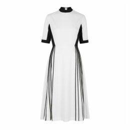 Bodice White Pleated Cotton Dress
