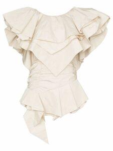 Alexandre Vauthier layered-ruffle structured mini-dress - White
