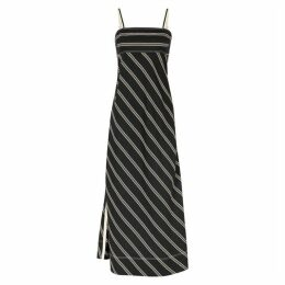 Lee Mathews Madox Striped Bias-cut Twill Midi Dress