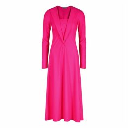 Saks Potts Yasmin Neon Pink Stretch-jersey Midi Dress