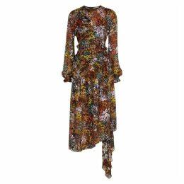 Preen By Thornton Bregazzi Black Floral-devoré Midi Dress