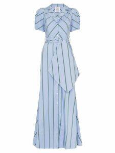 Rosie Assoulin pouf-sleeve striped maxi dress - Blue