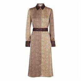 Equipment Christabella Snake-print Brushed Satin Shirt Dress