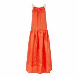 Lee Mathews Hana Red Pleated Linen Maxi Dress