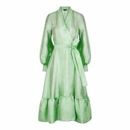 Stine Goya Niki Green Hammered Satin Midi Dress