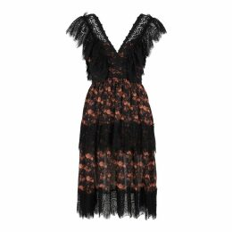 Charo Ruiz Bea Floral-print Lace-trimmed Midi Dress