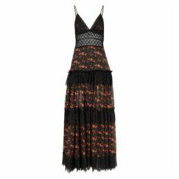 Charo Ruiz Dama Floral-print Lace-trimmed Maxi Dress