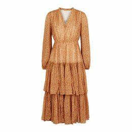 ByTiMo Rust Floral Chiffon Midi Dress