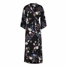 ByTiMo Black Floral-print Midi Dress