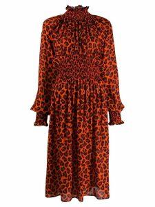 MSGM animal print puffy sleeves dress - Red