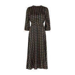 ByTiMo Black Polka-dot Satin Midi Dress