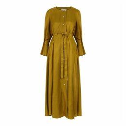 Palmer//harding Dulcet Olive Brushed Twill Shirt Dress