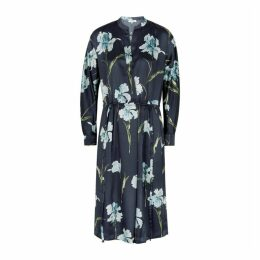 Vince Navy Floral-print Satin Midi Shirt Dress