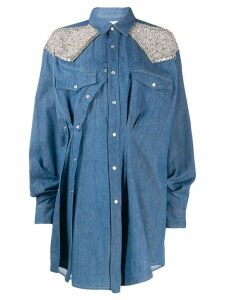 Circus Hotel embellished ruched shirt dress - Blue